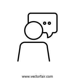 pictogram person with speech bubble icon, line style