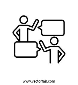 pictogram people talking with speech bubbles icon, line style