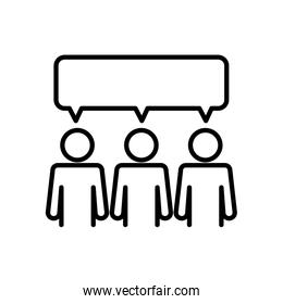 pictogram people with speech bubble, line style