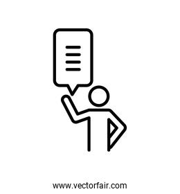 pictogram man standing with speech bubble icon, line style
