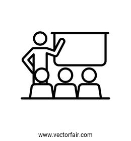 pictogram teacher at classroom with students, line style