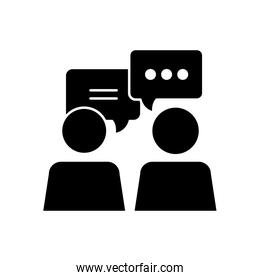 communication concept, pictogram persons with speech bubbles, silhouette style