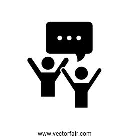 happy pictogram people with speech bubble icon, silhouette style
