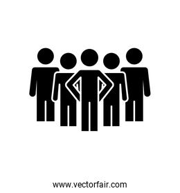group of pictogram people icon, silhouette style