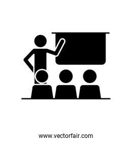 pictogram teacher at classroom with students, silhouette style