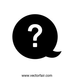 speech bubble with question mark icon, silhouette style