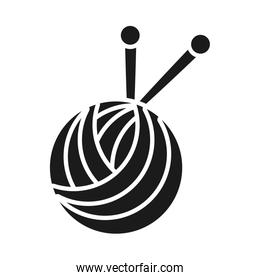 ball of yarn icon, silhouette style