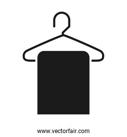 towel on a hanger icon, silhouette style