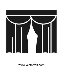 house curtains icon, silhouette style