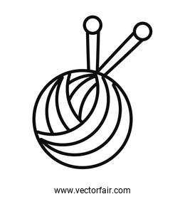 ball of yarn icon, line style