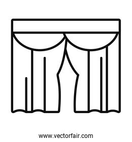 house curtains icon, line style