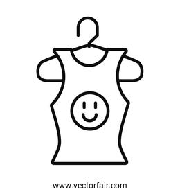 hanger with women tank top icon, line style