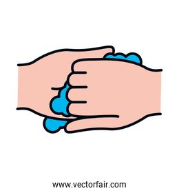 handwashing concept, hands with water, line and fill style