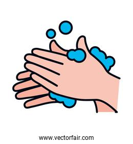 correct hands washing icon, line and fill style