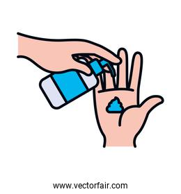 hands with antibacterial gel bottle icon, line and fill style