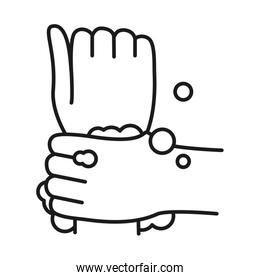 hands washing with water and soap, line style