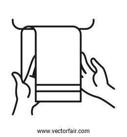 hands with towel icon, line style