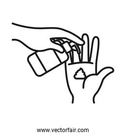 hands with antibacterial gel bottle icon, line style