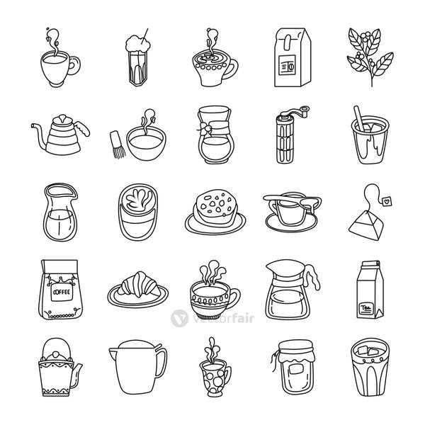 bundle of coffee and tea line style icon