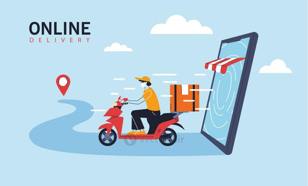 delivery man with protective face mask in motorcycle, online delivery