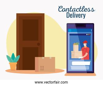 safe contactless delivery courier to home by covid 19, stay home, order goods online by phone
