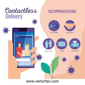 safe contactless delivery courier by covid 19, stay home, order goods online by smartphone