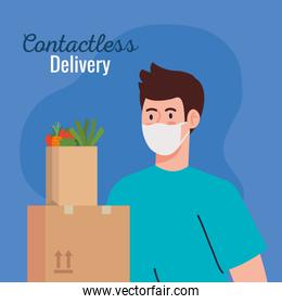 safe contactless delivery courier by covid 19, man with packages