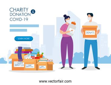 couple with cardboard donation boxes, social care, during coronavirus 2019 ncov