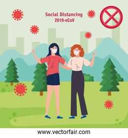 women, social distancing, keep distance in public society protect from covid 19