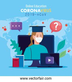 online education advice to stop coronavirus covid-19 spreading, learning online, woman with laptop and computer