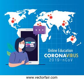 online education advice to stop coronavirus covid-19 spreading, learning online, woman student with smartphone