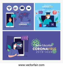 set scenes, online education advice to stop coronavirus covid-19 spreading, learning online concept