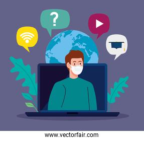 online education advice to stop coronavirus covid-19 spreading, learning online, man with laptop