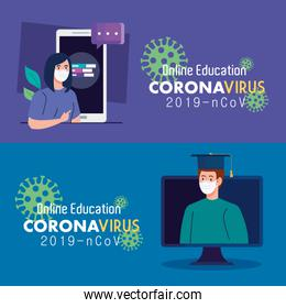 set scenes,online education advice to stop coronavirus covid-19 spreading, learning online concept