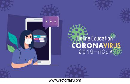 online education advice to stop coronavirus covid-19 spreading, learning online, woman graduate with smartphone