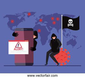 persons hacker with smartphone and alert sign during pandemic covid 19