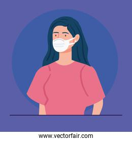 woman using medical protective mask against covid 19