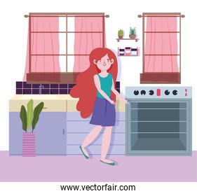 people cooking, girl in the kitchen with stove and plant