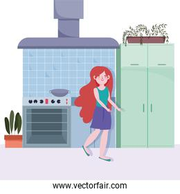 people cooking, girl in the kitchen with stove cooker hood saucepan