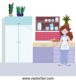 people cooking, girl with baked bread in the kitchen