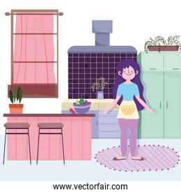 people cooking, girl with vegetables bowl furniture kitchen
