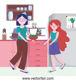 people cooking, woman and girl with vegetables in bowl counter kitchen