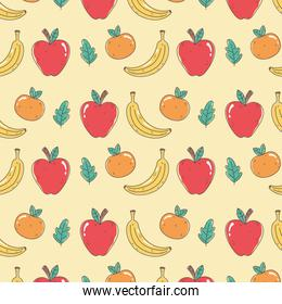 healthy food nutrition diet organic fresh fruits orange apple and bananas background