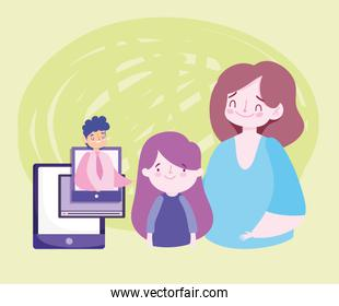 online education teacher smartphone class mom and student girl