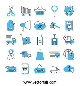 online shopping mobile marketing and e-commerce icons set line and fill style