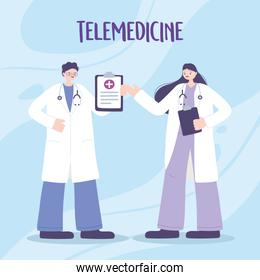 telemedicine, physicians professional staff medical treatment and online healthcare services