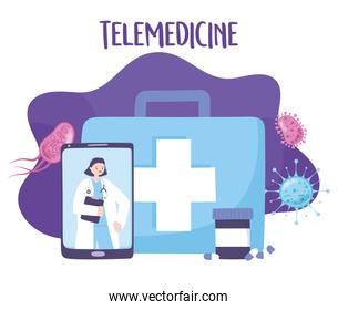 telemedicine, smartphone doctor prescription medication, medical treatment and online healthcare services