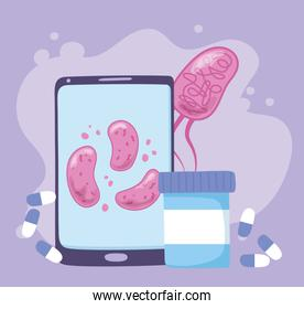 telemedicine, smartphone virus and medication medical treatment and online healthcare services