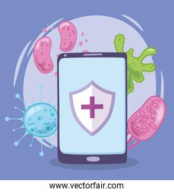 telemedicine, smartphone outbreak virus, medical treatment and online healthcare services