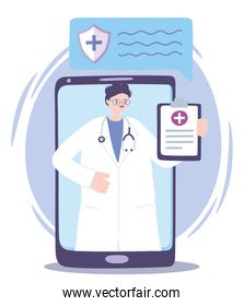 telemedicine, smartphone doctor with medical report treatment and online healthcare services